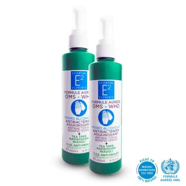 E2 Solution Hydro Alcoolique 3 Huiles Essentielles Formule OMS | E2 Essential Elements